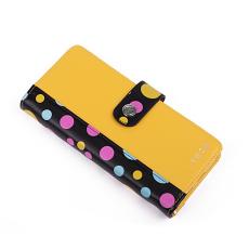 VUCH Sammy nagy patentos nyelves pénztárca-fekete pettyes-sárga P1641