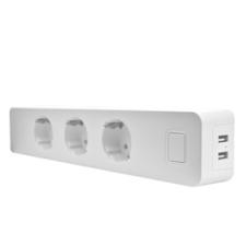 Woox Smart Home Okos Elosztó - R4056 (3*110-240V AC, 2x USB, túáram-érzékelő, túlfeszültség-védelem) biztonságtechnikai eszköz