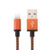 Woven töltő és szinkronizáló kábel Apple készülékekhez - 2m - narancssárga
