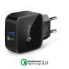 XE.H8RPN.001 Qualcomm Quick Charger 3.0 USB tablet és telefon gyors töltő hálózati tápegység 220V fast charger - fekete 5V 2.5A/ 9V 2.5A/ 12V 2A
