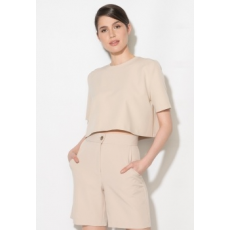 Zee Lane Collection Crop Fazonú Bézs Blúz 34 (ZL17S-5005-BEIGE-34)