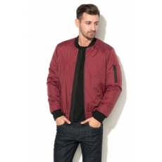 Zee Lane Denim , Bélelt Bomber Kabát, Bordó, S (ZLD18F-3019-RED-WINE-BLACK-S)