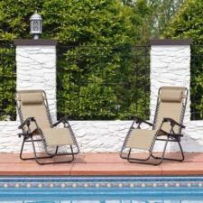 Zéró gravitáció kerti szék ajándék pohártartóval, 2 db-bézs kerti bútor