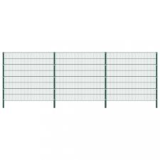 Zöld vas kerítéspanel oszlopokkal 5,1 x 1,6 m kerti dekoráció