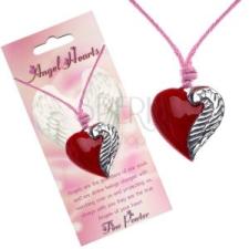 Zsinóros nyaklánc piros, szív alakú medállal és szárnnyal medál